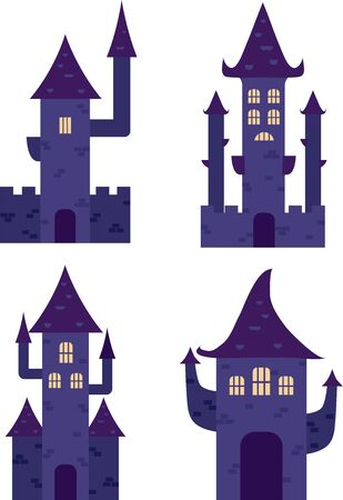 A set of vector Halloween vampires or witches castles. Purple illustrations isolated on a white background 向量圖像