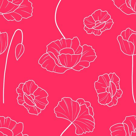 A seamless vector pattern with poppies. White outline beautiful flowers on a red background.