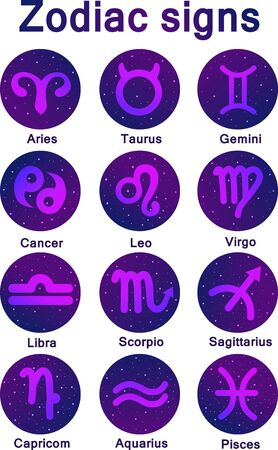 Set of vector icons. Collection of zodiac signs in purple colors with the Space. Stars and lights. Astrology symbols with latin names