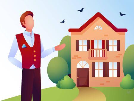 Vector illustration of a batler near the hotel. Man sells the house.