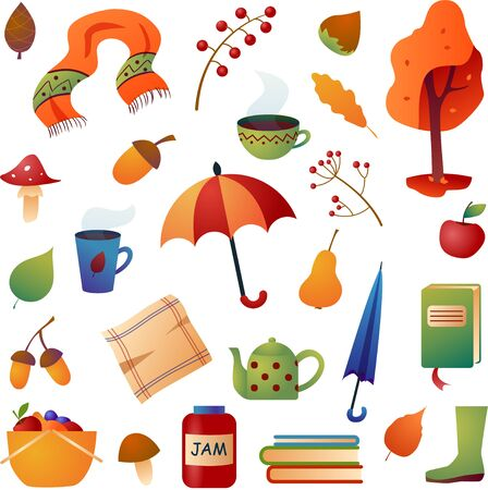 Vector autumn set. Different autumn items isolated on a white background