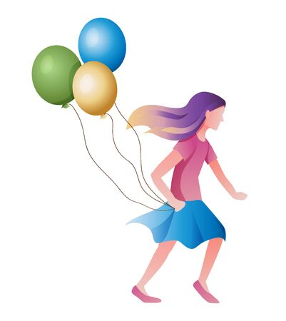 Vector illustration of a girl with purple hair running with balloons. Isolated llustration on a white background