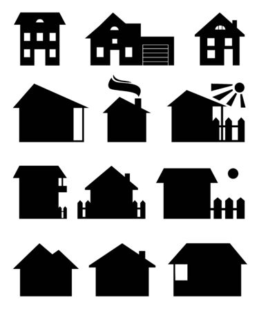A vector set of houses silhouettes. Different black houses isolated on a white background