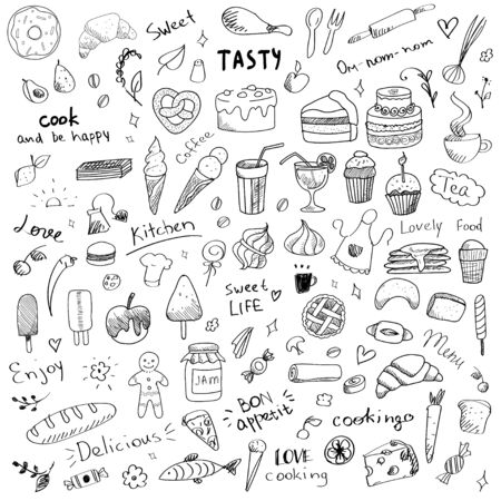 Vector set of doodle sketch illustrations of sweet food. Sweet dessert and food art elements for kitchen or menu. Ice cream, bakery, lolly pop, cake, tea, chocolate, honey, donut, croissant, pancakes and writings, hand drawn