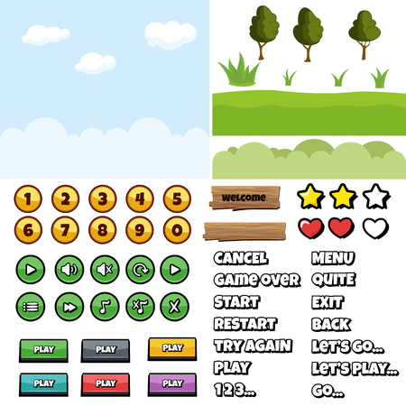 Game kit and user interface elements. Vector gaming asset.