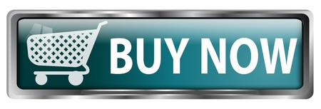 orden de compra: Bot�n Comprar ahora con un carrito de compras en fondo blanco Foto de archivo