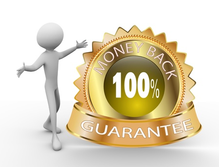 satisfaction guarantee: 3d man with 100% Money Back Guarantee Golden Icon