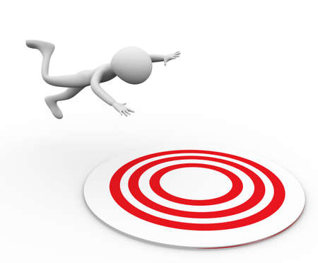 3D man falling on target on white background Stock Photo - 8925511
