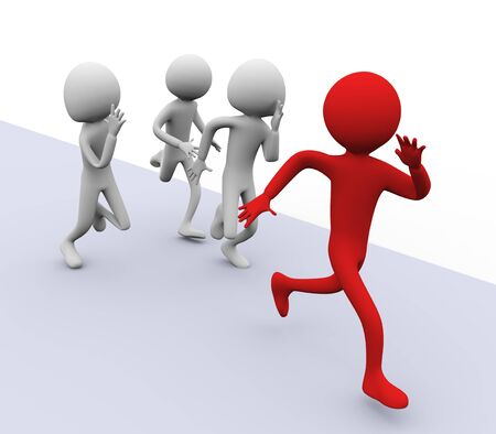 3D men running for winning. Concept of competition, Leadership, success etc photo