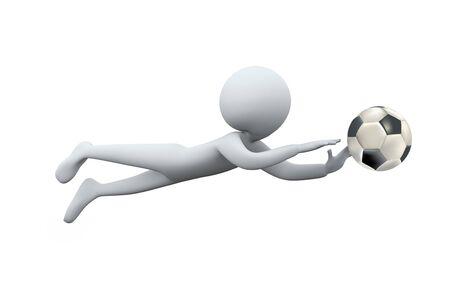 atrapar: Hombre 3D buceo para la captura de f�tbol