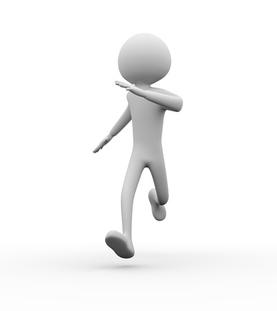 fast foot: 3D man running on white background