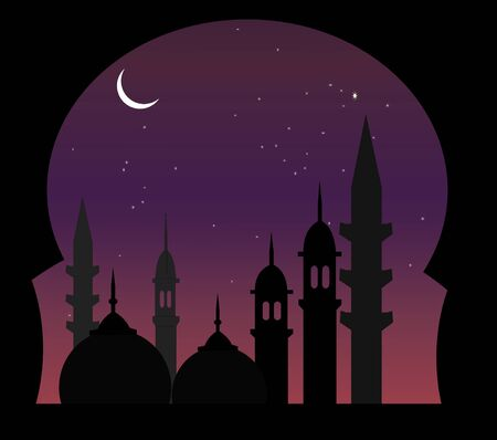 middle eastern: Illustration of a beautiful arabic night view Stock Photo