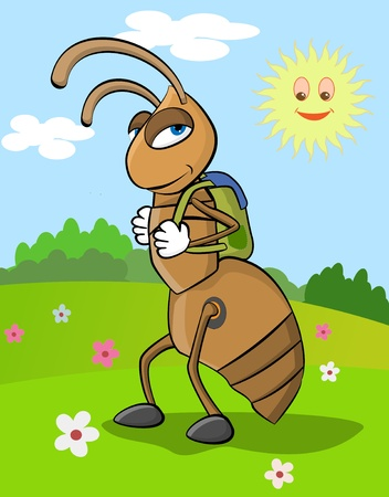 graders: Illustration of happy ant going to school