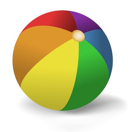 beachball: Illustration of brightly colored beach-ball on white background Stock Photo