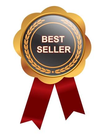 vendedores: Medalla bestseller sobre fondo blanco
