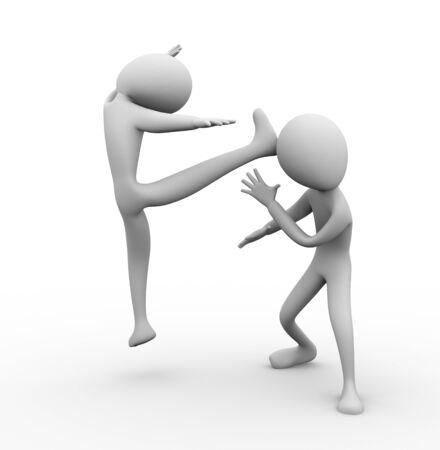 attacker: 3D man kicking his opponent