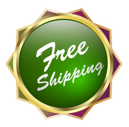 brand tag: Illustration of free shipping concept Stock Photo