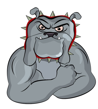 Angry gray bulldog mascot posing photo