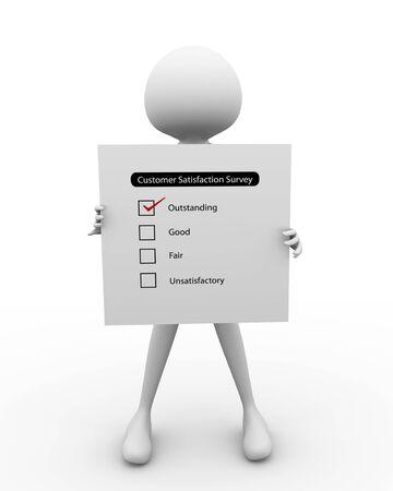 homme 3D au questionnaire sur le niveau de satisfaction