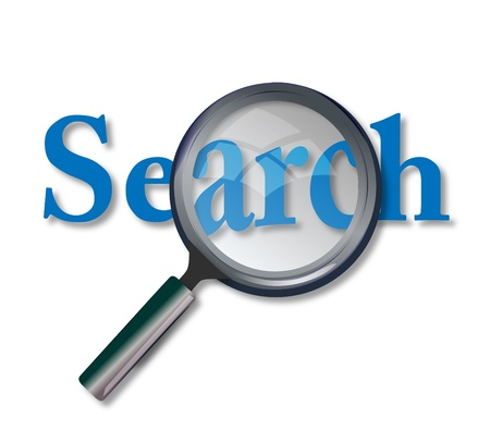 Concept of web site search with magnifying glass photo