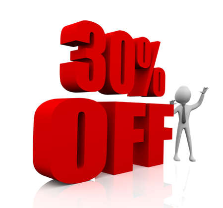 3d rendering of 30% in red letters on white background