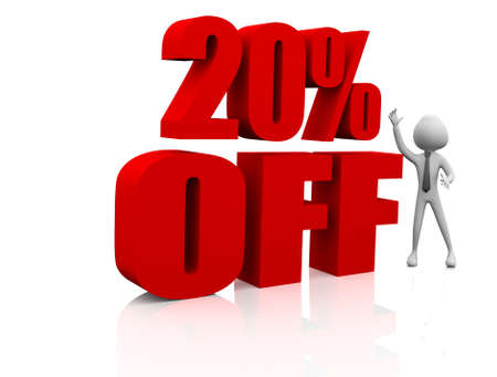 3d rendering of 20% in red letters on white background