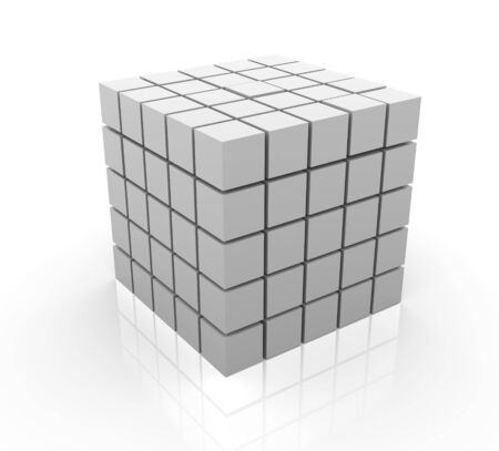cube puzzle: 3d render of cubes on white background