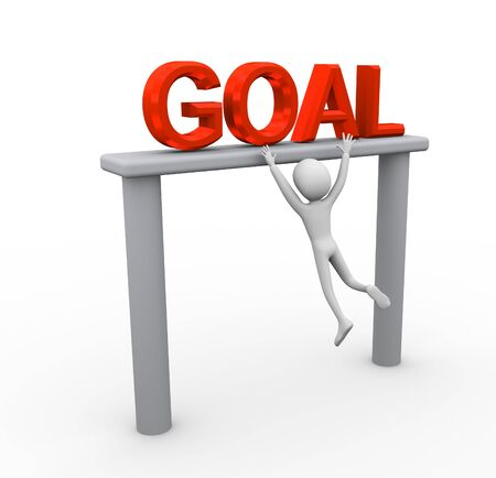 3d man struggling for achieving goal Stock Photo - 9182758