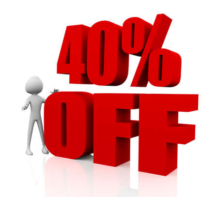 3d rendering of 40% in red letters on white background