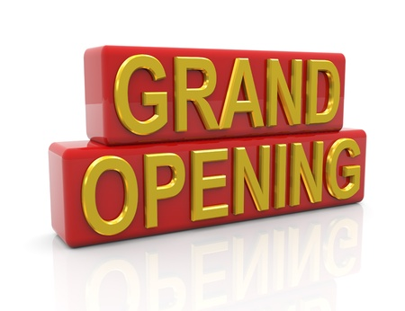 3d render of golden text grand Opening Stock Photo - 9182830