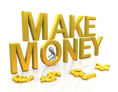 making a save: 3d man with golden make money text and currencies symbols