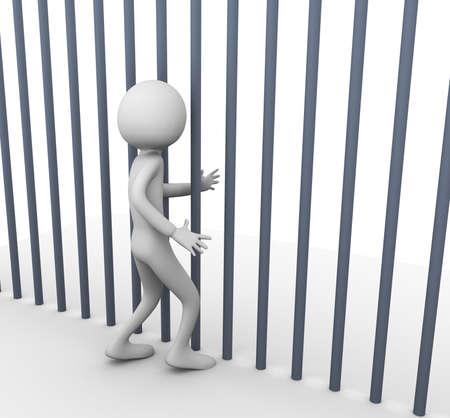 3d render of prisoner in the jail Stock Photo - 9182824