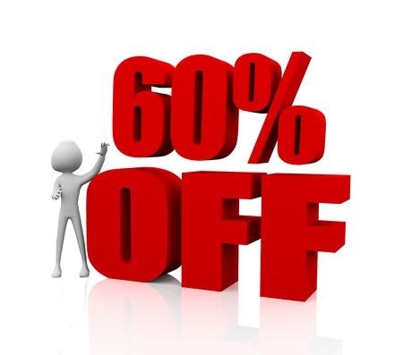 Sale promotion text 60 percent off photo