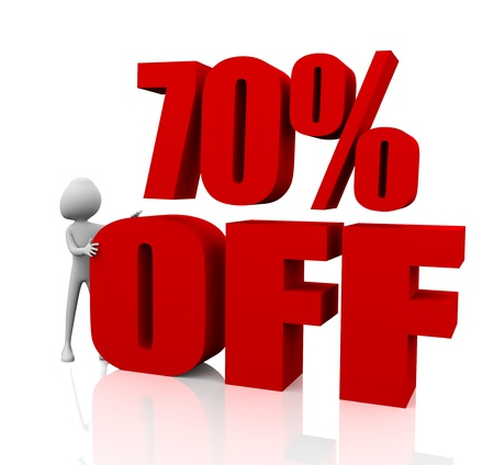 3d rendering of 70% in red letters on white background photo