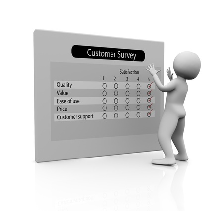 3d man looking with at customer survey report Stock Photo - 9182805