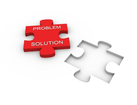 matching: 3d render of problem solution concept