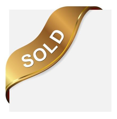 Golden Tagbeschriftung für verkauften Artikel Standard-Bild