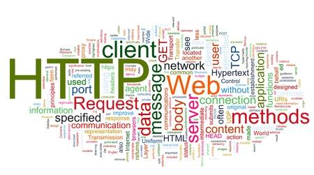 Palabras en un wordcloud de HTTP. Concepto de internet, navegar por la web, redes globales