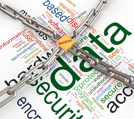 data protection: Data protected by chain and padlock on background of
