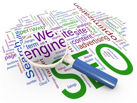 Magnifying glass focus on word web engine Stock Photo - 10027898