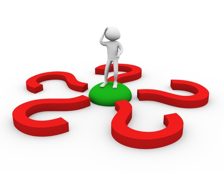 decision making: 3d man encircled by question mark symbols. Stock Photo
