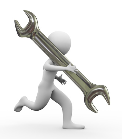 3d man running with wrench photo