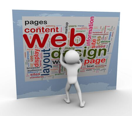 web browser: 3d man building web design. Words related to web designing. Stock Photo