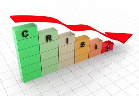 decreasing: 3d render of economy crisis concept