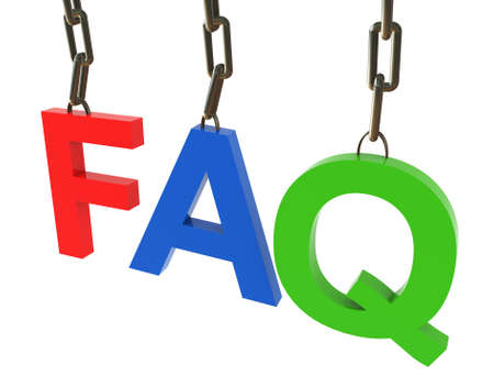 3d render of colorful faq text hanged in chain photo