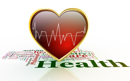 stress test: 3d shiny heart with waveform on background of health wordcloud. Stock Photo