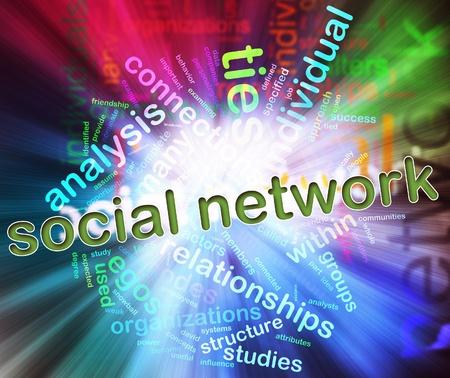 Illustration of social media concept. Social Media Wordcloud in circular shape Stock Photo