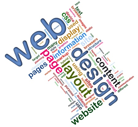 design web: Words in a wordcloud of web design. Concept of web designing. Stock Photo