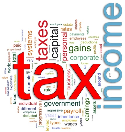 excise: Parole in un wordcloud relative a imposte sul reddito
