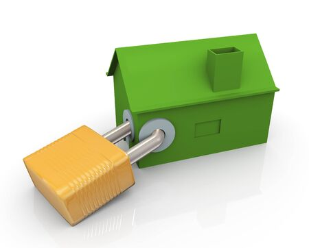 guard house: 3d house protected with padlock. concept of real estate protection.